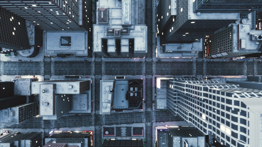 Top down aerial view empty streets. Quarantined City. Top view of an empty city Royalty-Free Stock Footage #1051939399