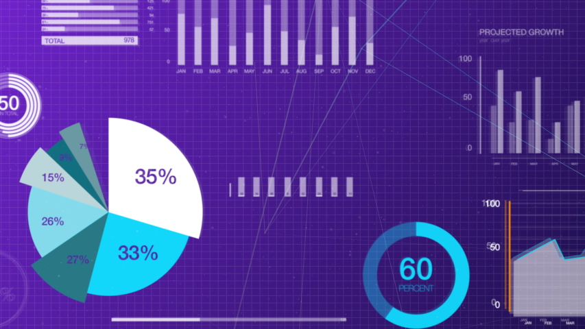 Big data and stock market business visualization, in a 3D space, showing pie charts, numbers and graphs in blue and purple background. Created in 4k.