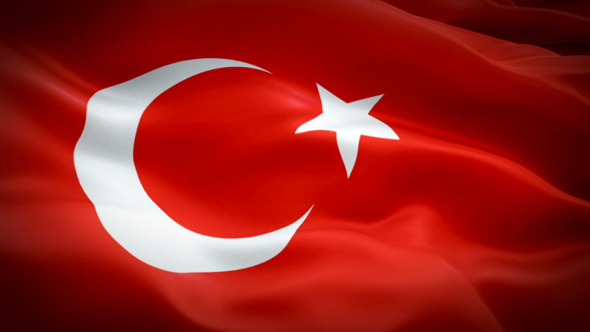 Turkey waving flag. National 3d Turkish flag waving. Sign of Turkey seamless loop animation. Turkish flag HD resolution Background. Turkey flag Closeup 1080p Full HD video for presentation