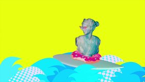 Contemporary art animation design. Ancient statue surfing on a colorful waves and wearing sunglasses.