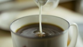 Cream pouring into black morning coffee. Coffee mug. Slow-motion product clip. Shot on RED camera in 4k. Free preview.