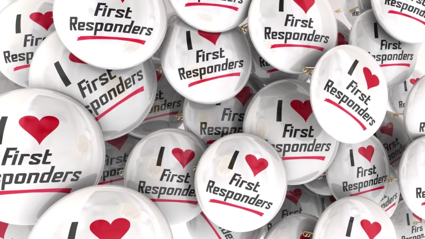 I Love First Responders Buttons Pins Emergency Workers Police Fire 3d Illustration