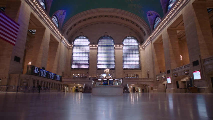 New York, NY / USA - April 2020: Empty Grand Central Station during the Coronavirus Pandemic