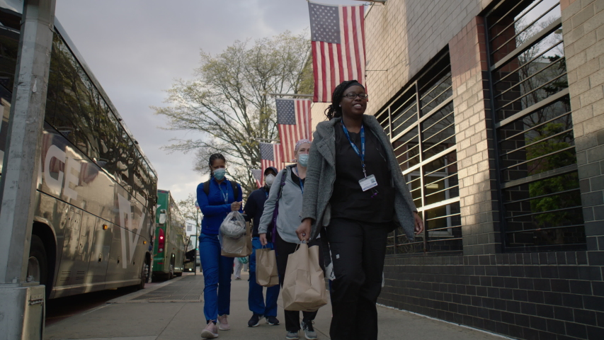 New York, NY / USA - April 2020: People Showing Support for Healthcare Workers Outside of Elmhurst Hospital During Coronavirus - Applauding, Thank You Messages, Signs