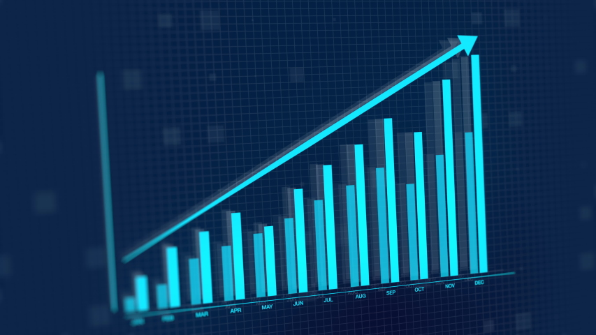 3D animation of 2D vector rising blue bar graph chart with uparrow, ultra HD 4K Stock Market value Royalty-Free Stock Footage #1052043460