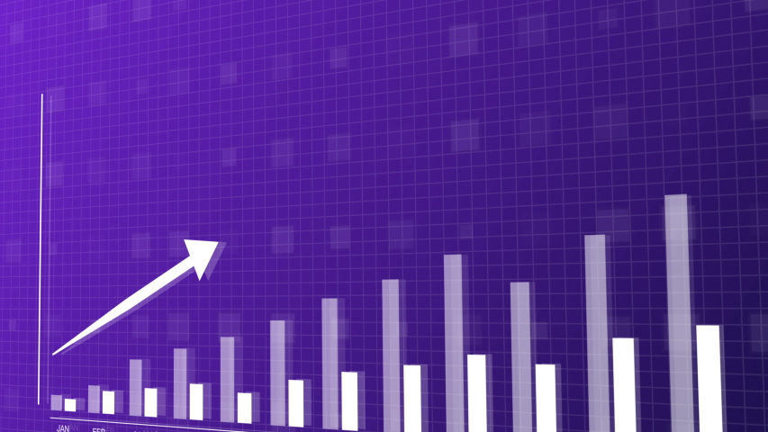 Blue and purple upwards 3D animation of 2D vector bar graph showing data stats rising. 4K perfect for your business presentations. | Shutterstock HD Video #1052043478