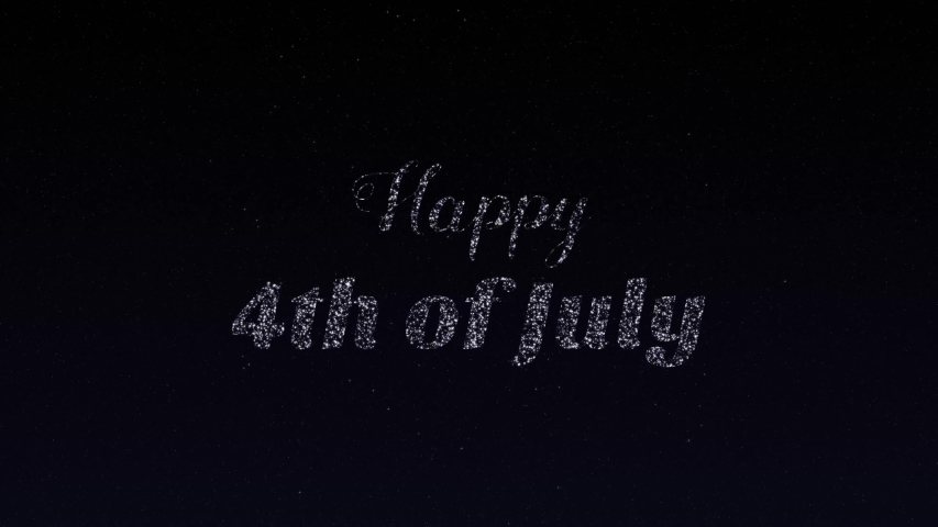 Animation of red, white and blue motion graphics fireworks and and an explosion of stars  revealing Happy 4th of July. Graphic is against a dark sky or black background with twinkling, moving stars. | Shutterstock HD Video #1052066668