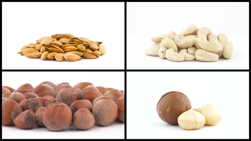 Collage of peeled and shelled nuts collection rotating over white background. Macadamia, almond, cashews, hazelnut.