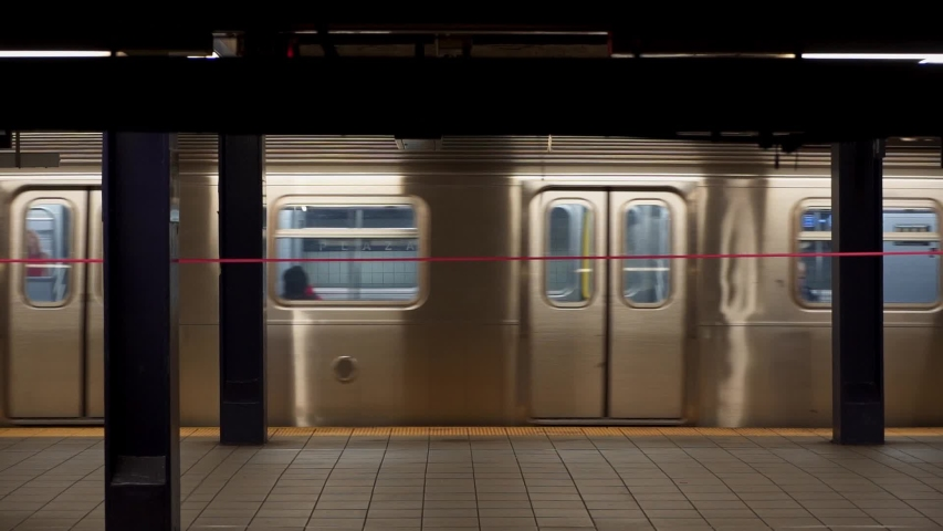 Empty Subway in NY during Pandemic COVID19 (Corona Virus Deases 2019), quarantine, Self isolation and social distancing. Empty town, Manhattan, New York, US 04.25.2019  Royalty-Free Stock Footage #1052099746