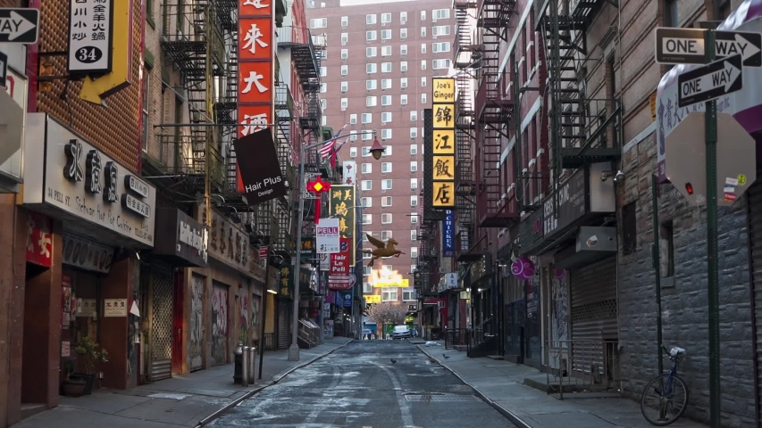 Empty China Town Street in NY during Pandemic COVID19 (Corona Virus Deases 2019), quarantine, Self isolation and social distancing. Empty town, Manhattan, New York, US 04.25.2019