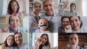 group video chat family and friends waving at baby greeting newborn over internet connection faces of people chatting sharing happiness online