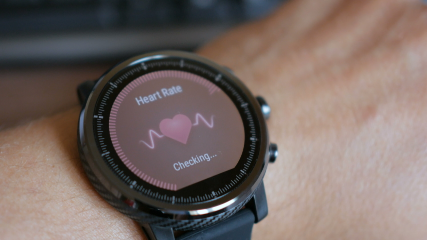 Checking the heart rate by smart watch. Smartwatch. Touching screen. Pulse checking. heart rate monitor   Shutterstock HD Video #1052169361