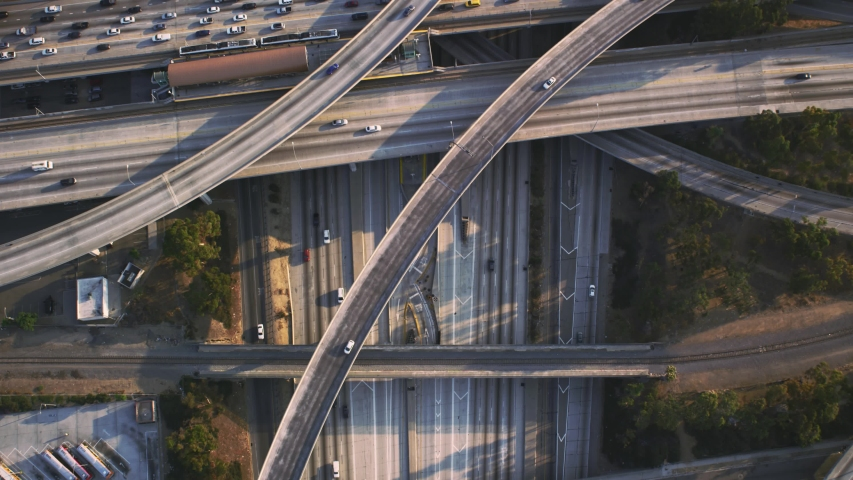 Judge Pregerson Road Intersection ,Drone Straight Top Angle View , Los Angeles, USA with Traffic  | Shutterstock HD Video #1052173507