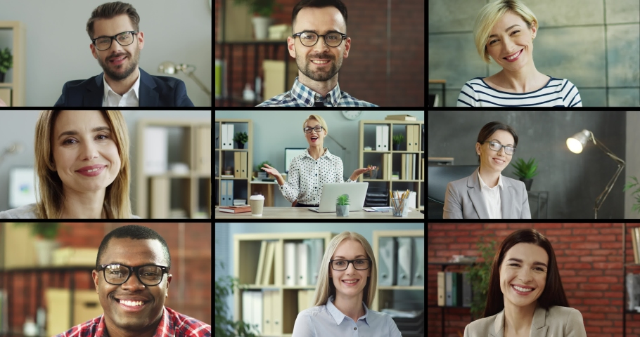 Collage of different multiethnic people in cabinets. Multiscreen on happy man and woman talking to camera while sitting at office. Cheerful male and female employees smiling indoor. People concept. | Shutterstock HD Video #1052178952