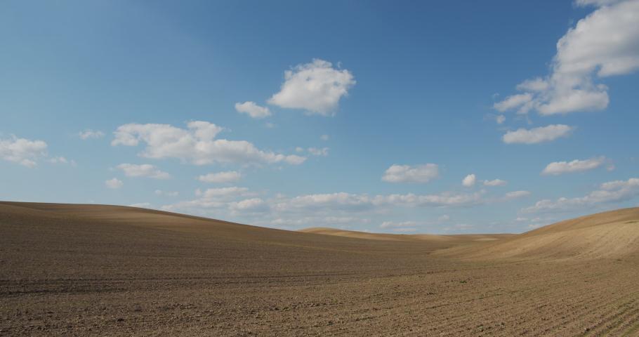 Beautiful gray field on sky background | Shutterstock HD Video #1052180374