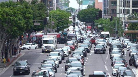 Los Angeles , California / United States - 04 11 2020: Los Angeles Traffic