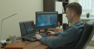 Video editing on a computer with Two Monitors. Monitor the computer and capture the work of the program for video editing.