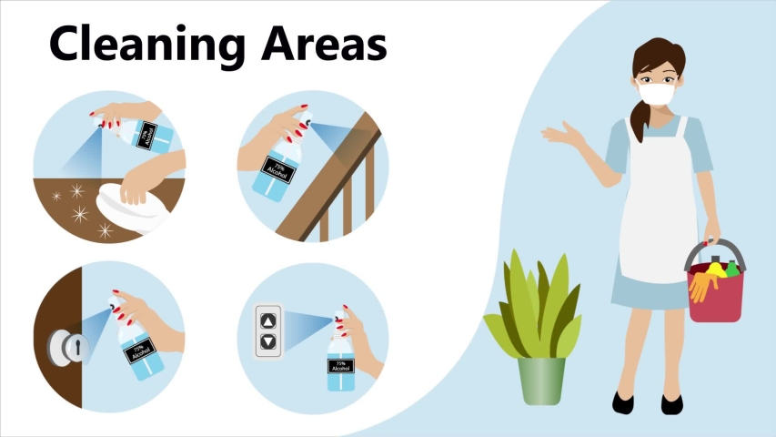 Cartoon aimation of woman holding cleaning bucket with infographics of cleaning point areas for 75% alcohol spraying. Idea for hygiene cleaning, COVID-19 corona virus awareness and prevention.