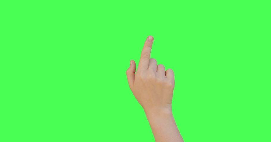 Gestures pack. Female hand touching, clicking, tapping, sliding, dragging and swiping on chroma key green screen background. Alpha Channel. Using a smartphone, tablet pc or a touchscreen.