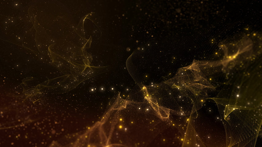 3D render animation of Gold sparkling nebula. Abstract motion design background shining gold particles. Shimmering Glittering Particles With Bokeh.