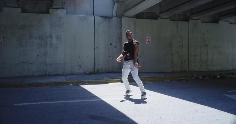 Male hip hop dancer dancing