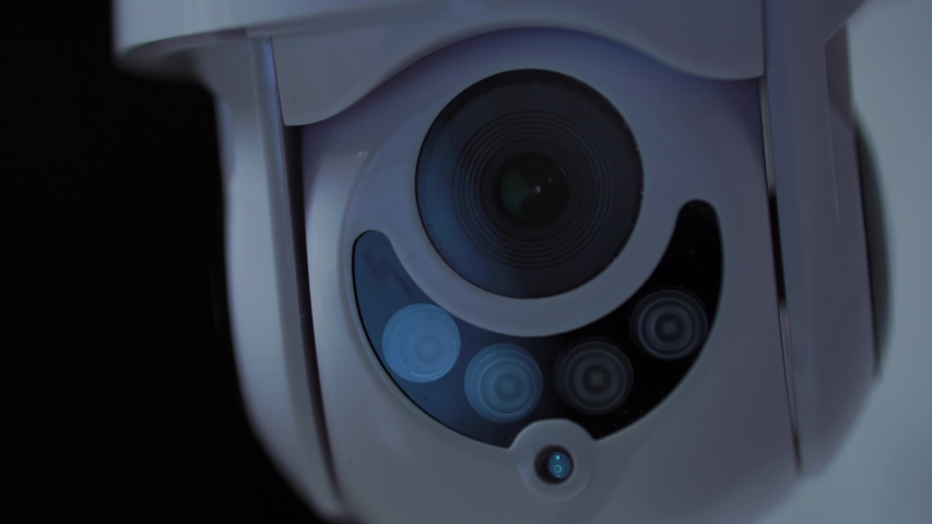 Cinematic Cctv Security Camera Rotates At Night, 4K Surveillance.