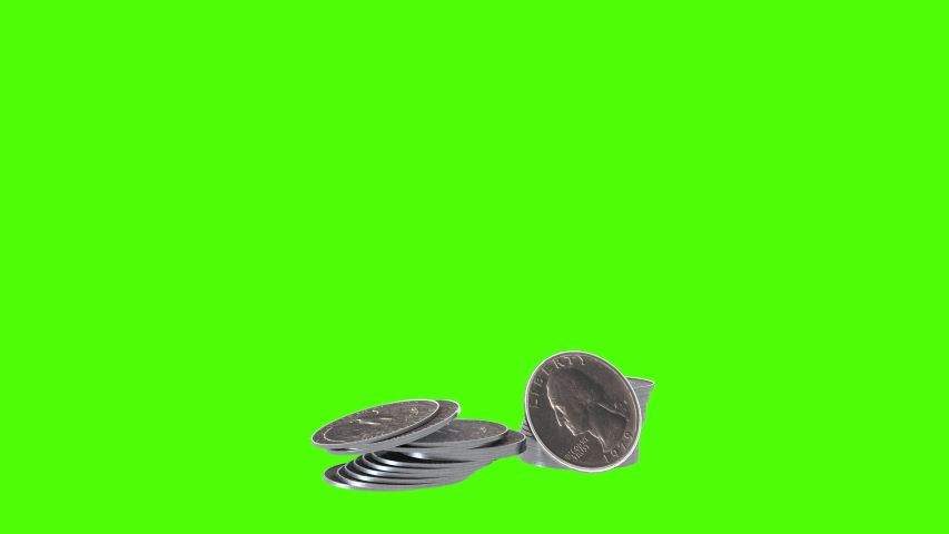 3D render of American Quarter coins falling and bouncing on green screen. Easy to key and put in your footage.