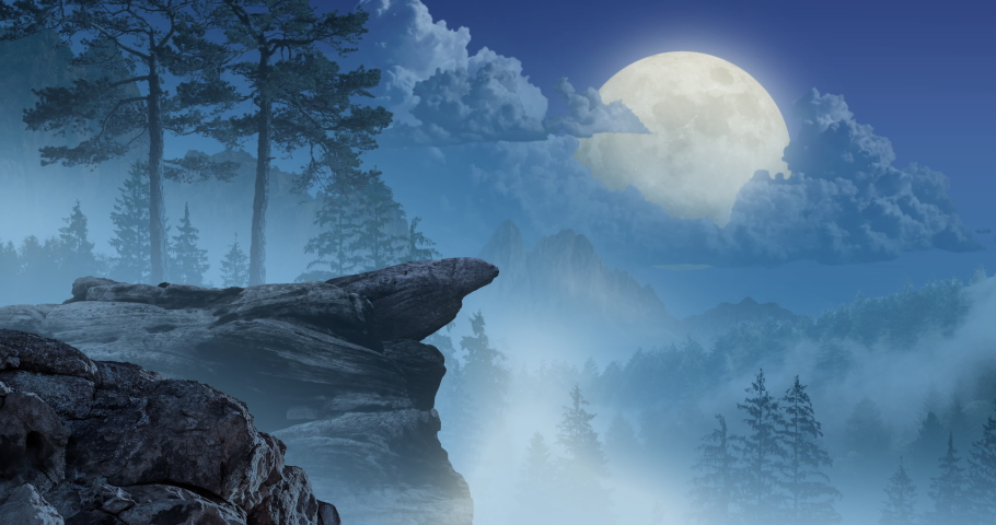 Animation featuring a pack of wolves that run to the edge of a cliff. The alpha sits down and howls at the moon, in front of a mountainous forest background.