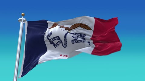4k Iowa flag,State in United States America,cloth texture slow seamless loop waving with visible wrinkles in wind USA blue sky background.A fully digital rendering,animation loops at 20 seconds.