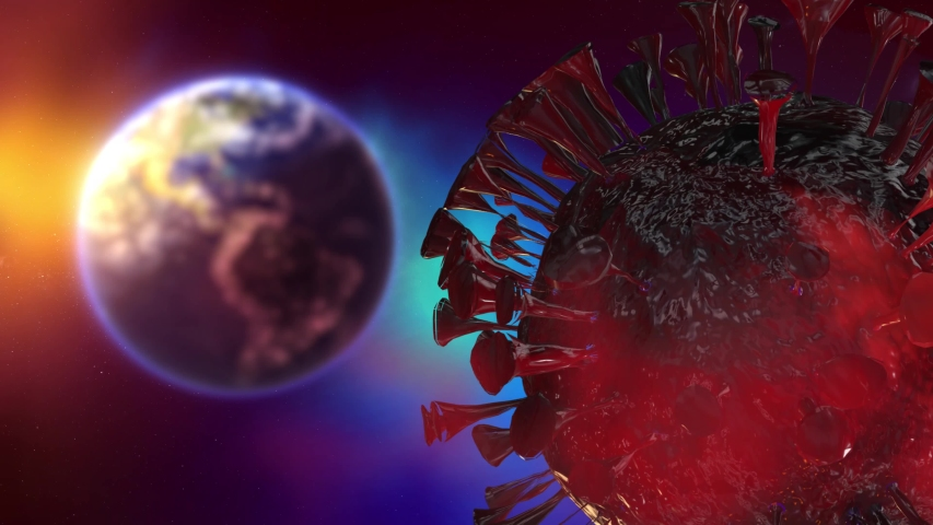 Coronavirus threatens planet Earth, a pandemic is approaching. Stop Covid-19. Macro planet Earth in space sunrise. Animation with the rotating planet Earth in the Universe.  | Shutterstock HD Video #1052352886
