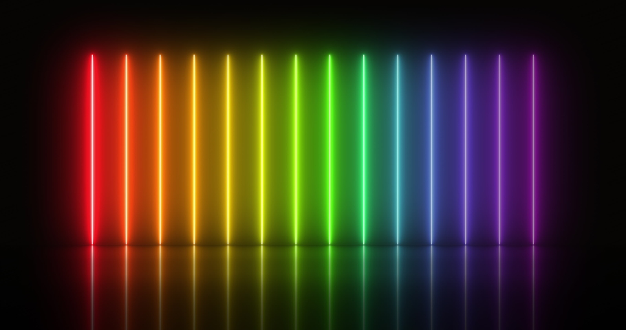 4k video animation of glowing vertical neon lines in rainbow colors on reflecting floor. Flashing rainbow colors. Retro neon light. Royalty-Free Stock Footage #1052366212