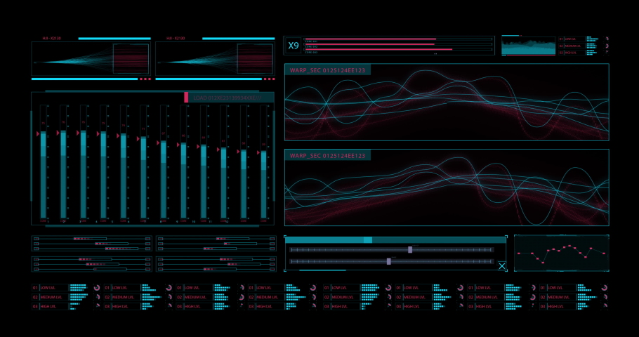 HUD UI. Technological background with waveform chart and changing instrument readings | Shutterstock HD Video #1052371546