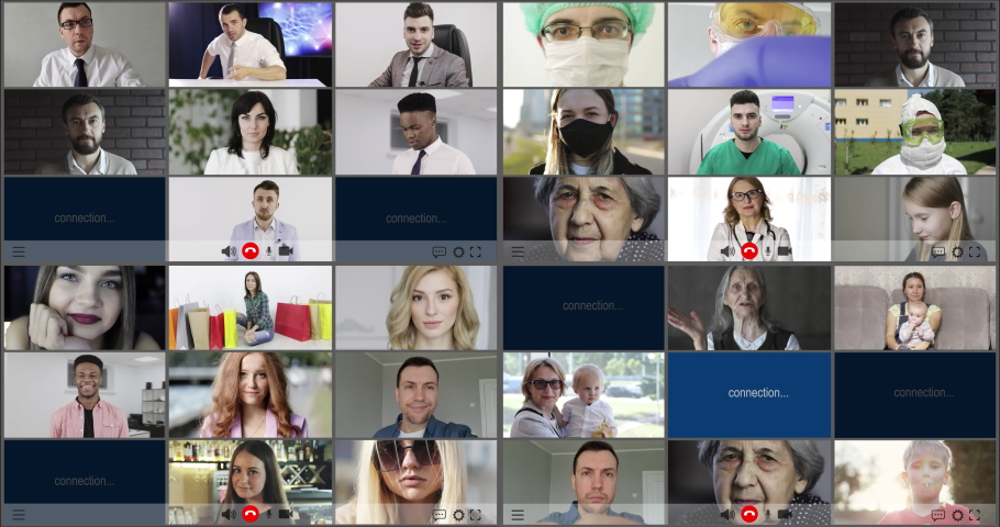 Multiscreen (36 screens) on smiling multiethnic people with generational diversity. Joy, carefreeness, happiness of children adult and old people.  | Shutterstock HD Video #1052409550