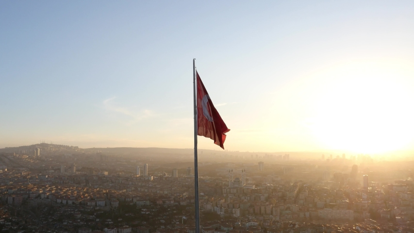 Turkish Flag Sunset Aerial Shoot