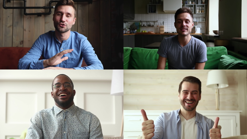 Four happy diverse young casual men making video call. People looking at camera, talk online working from home. Group of friends using online app for remote conference or webinar. Virtual meeting Royalty-Free Stock Footage #1052505940