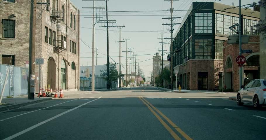 Empty Downtown LA Streets Outskirts 4K 48FPS SLO-MO | Shutterstock HD Video #1052520079