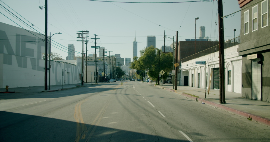 Empty Downtown LA Streets Outskirts 4K 48FPS SLO-MO | Shutterstock HD Video #1052520091