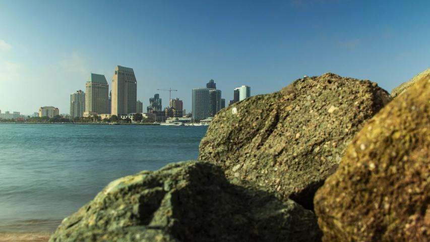 San Diego Skyline over the ocean bay