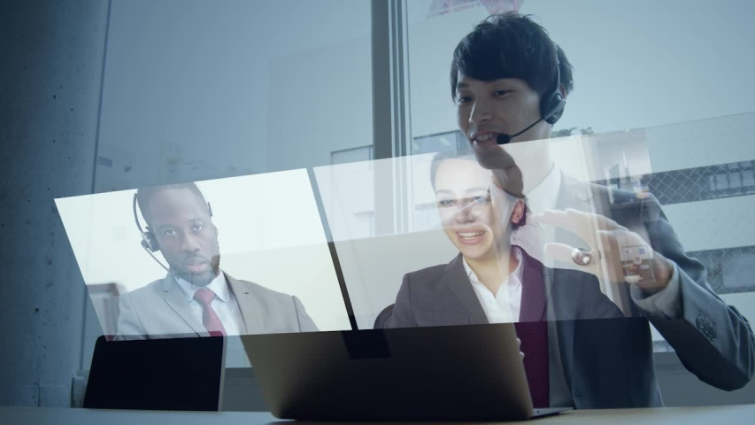 Video conference concept. Teleconference.  Webinar. Online seminar. e-Learning. Royalty-Free Stock Footage #1052533166