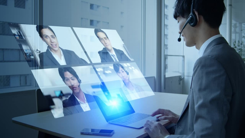 Video conference concept. Teleconference.  Webinar. Online seminar. e-Learning. Royalty-Free Stock Footage #1052533169