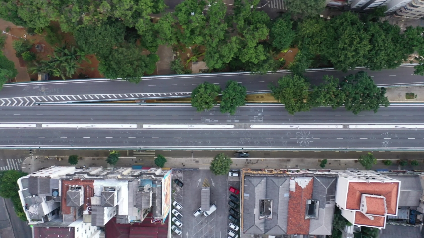 Aerial top down view of empty streets due Covid-19. Quarantined city. São Paulo, Brazil. Top down view of empty avenue. Quarantined city. Aerial quarantined city. City lockdown due Coronavirus. Royalty-Free Stock Footage #1052544254