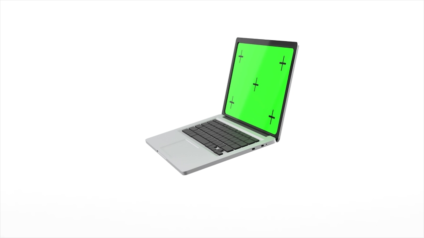 Modern laptop with a green screen revolves around and opens on a white background. 4K animation with alpha channel. 3D rendering   Shutterstock HD Video #1052565062