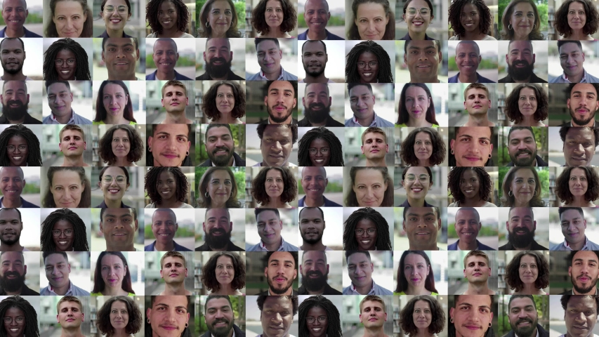 Closeup of smiling Caucasian, Latin, African American people of different ages and occupations. Mosaic series, multiscreen montage, collage portraits. Front view. Diversity or society concept | Shutterstock HD Video #1052569529