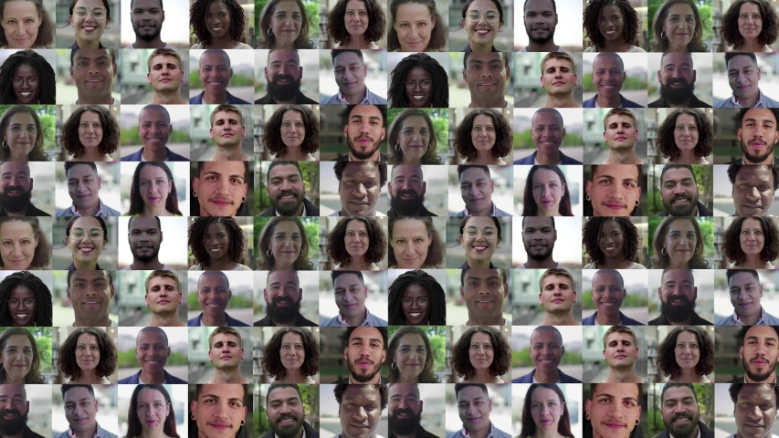 Faces of happy Caucasian, Latin, African American people of different ages and occupations. Mosaic series, multiscreen montage, collage portraits. Front view. People concept
