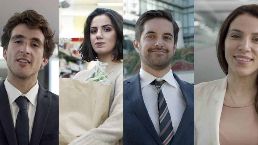 Positive young people in office or supermarket. Customer buying food in supermarket, businessman posing outside. Mosaic series, multiscreen montage, collage portraits. Lifestyle concept | Shutterstock HD Video #1052569673