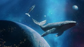 Fantastic Dream Of Flying Whales In Space With Nebula Stars And Planets. Two Whales Above The Planet Earth. Take Me To The Dream Concept. Loop Video