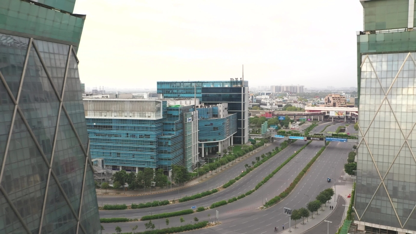 Gurgaon Drone Aerial video during lockdown 2020 Royalty-Free Stock Footage #1052579444