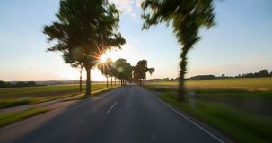 Driving a car - POV - Road at Sunset - Part 4 of 8 Shot on roof-mounted Sony PXW FS7 This shot was split into a series of takes, that can be put back together for the original length clip.