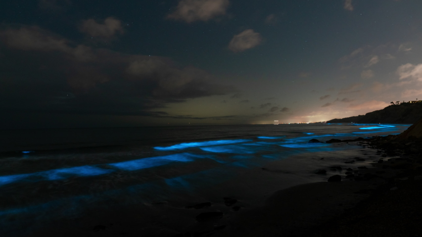 Time lapse of Bioluminescent glowing waves at Southern California Coast | Shutterstock HD Video #1052614244