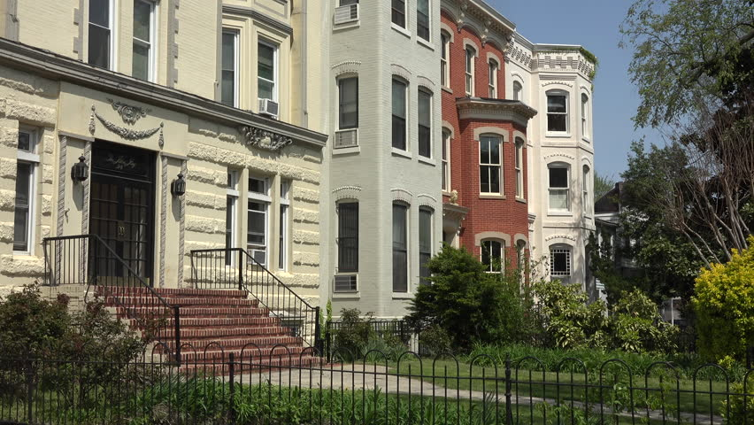 WASHINGTON, DC, - APR 2015: Capitol Hill beautiful row houses yards Washington DC 4K. Largest and oldest historic residential neighborhood. 35,000 people in under 2 square miles.